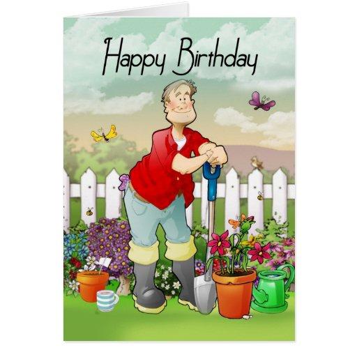 carte de voeux d'anniversaire de jardinier