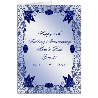 Carte de voeux d'anniversaire de mariage de saphir
