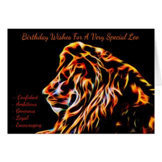 Carte de voeux d'anniversaire de zodiaque de Lion