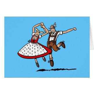 Carte de voeux dansant des couples d'Oktoberfest