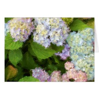 Carte de voeux d'aquarelle d'hortensias