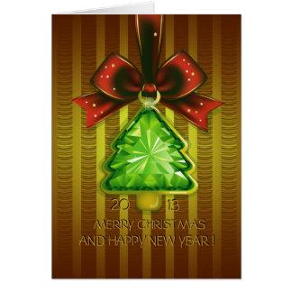 Carte de voeux d'arbre de diamant de vert de