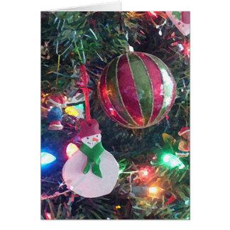 Carte de voeux d'arbre de Noël de bonhomme de