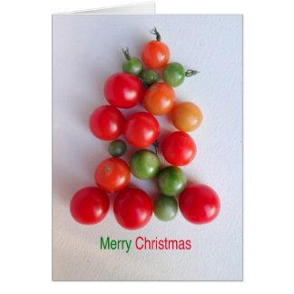 Carte de voeux d'arbre de Noël de tomate-cerise