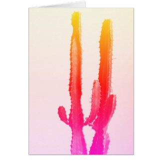 Carte de voeux d'arc-en-ciel de cactus, vierge