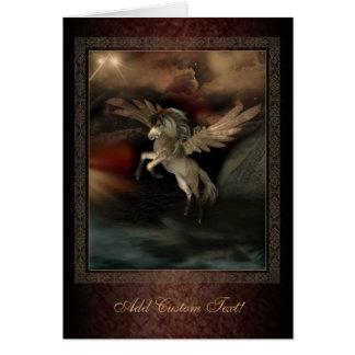 Carte de voeux d'art d'imaginaire de Pegasus