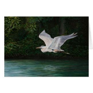 """Carte de voeux d'art d'oiseau """"de héron de grand"""