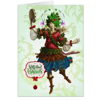 Carte de voeux de bacchante de Noël