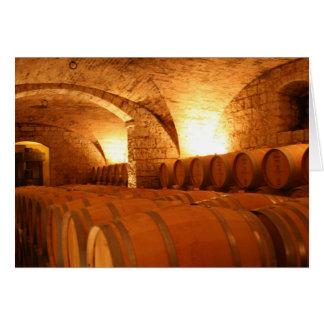 Carte de voeux de baril de vin