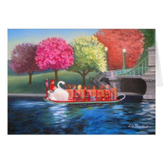 Carte de voeux de bateau de cygne par Liz Boston