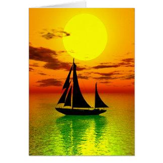 Carte de voeux de bateau de voile de coucher du