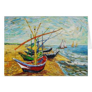 Carte de voeux de bateaux de pêche de Van Gogh
