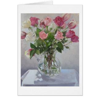 """Carte de voeux de blanc """"de bouquet rose"""""""