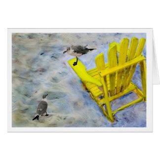 Carte de voeux de blanc de chaise de plage