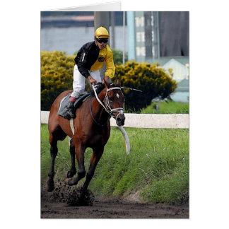 Carte de voeux de blanc de cheval de course de pur