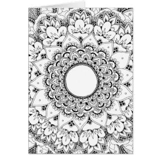 Carte de voeux de blanc de mandala de lune