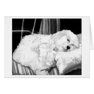 Carte de voeux de blanc de portrait de chien de