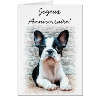 Carte de voeux de bouledogue français de Joyeux