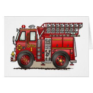 Carte de voeux de camion de pompiers d'échelle