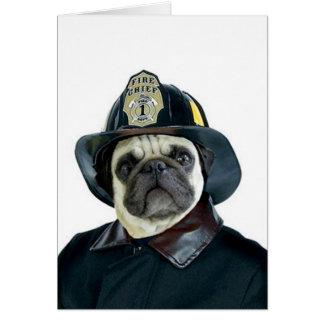 Carte de voeux de carlin de pompier