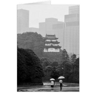 Carte de voeux de carte de note de pluie de Tokyo