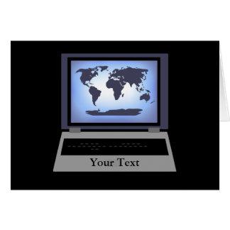 Carte de voeux de carte du monde d'ordinateur