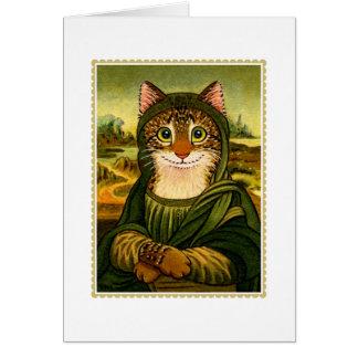 Carte de voeux de CAT de sourire de Mona Lisa