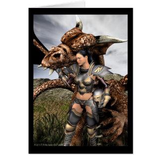 Carte de voeux de cavalier de dragon de dévotion