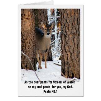 Carte de voeux de cerfs communs du psaume 42,1