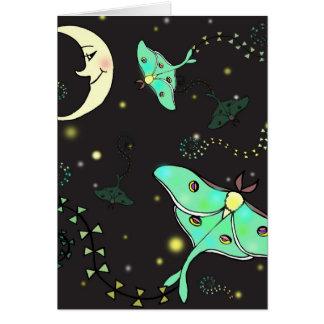 Carte de voeux de cerfs-volants de mite de Luna