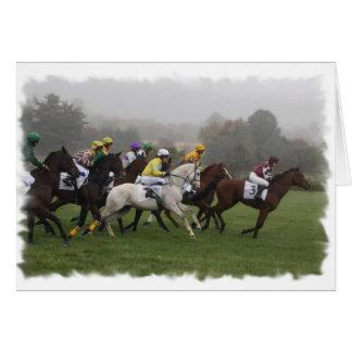Carte de voeux de champ de cheval de course