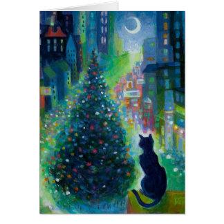 Carte de voeux de chat de Noël