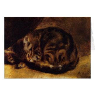 Carte de voeux de chat de sommeil de Renoir
