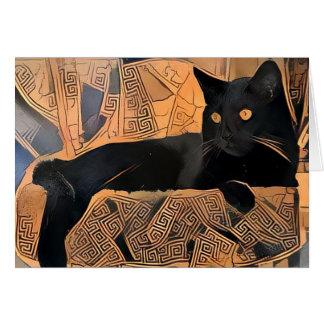 Carte de voeux de chat noir, Grec inspiré, vierge