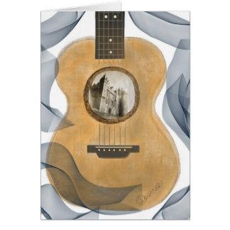 Carte de voeux de château de guitare acoustique
