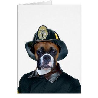 Carte de voeux de chien de boxeur de pompier