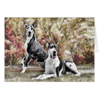 Carte de voeux de chien de great dane de harlequin