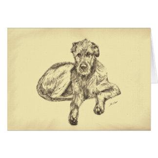Carte de voeux de chiot de chien-loup irlandais