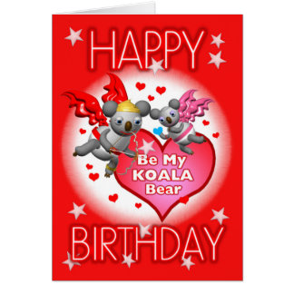Carte de voeux de coeurs de koala de joyeux