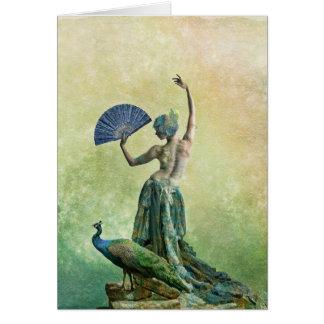 Carte de voeux de danseur de paon avec dire