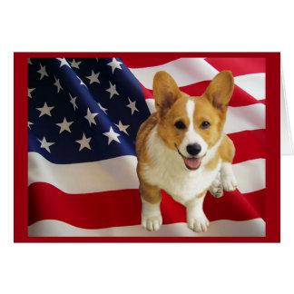 Carte de voeux de drapeau américain de corgi de