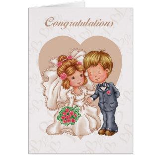 Carte de voeux de félicitations de mariage - jeune
