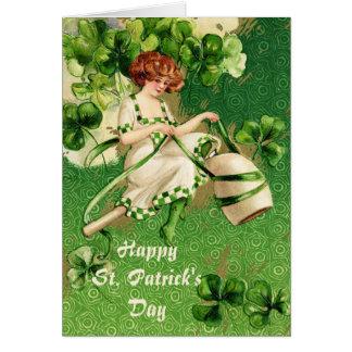 Carte de voeux de fille de jour de St Patty Carte De Vœux