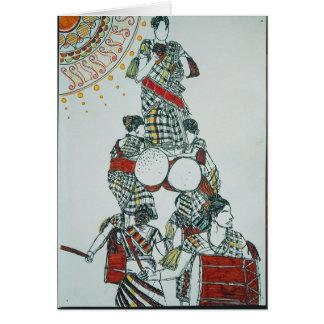 Carte de voeux de filles de danse de tambour