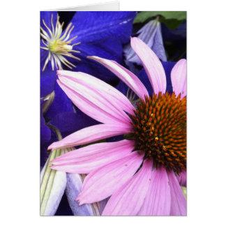 Carte de voeux de fleur rose de cône et de