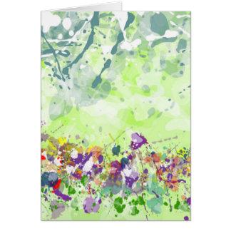 Carte de voeux de fleurs sauvages - masquez à