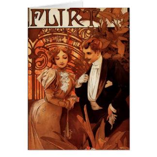 Carte de voeux de flirt d'Alphonse Mucha