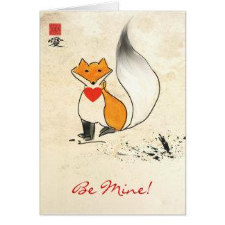 Carte de voeux de Fox Valentine de Sumi-e