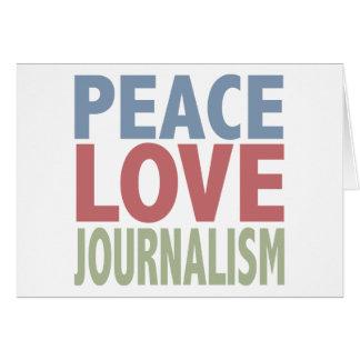 Carte de voeux de journalisme d'amour de paix