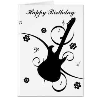 Carte de voeux de joyeux anniversaire de guitare d